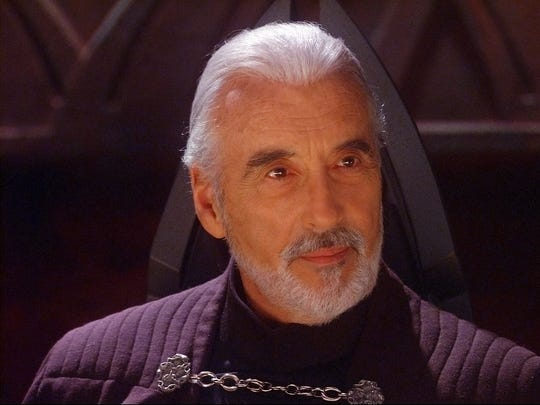 """Count Dooku (Christopher Lee) caused major trouble for the Jedi in """"Star Wars: Attack of the Clones."""""""