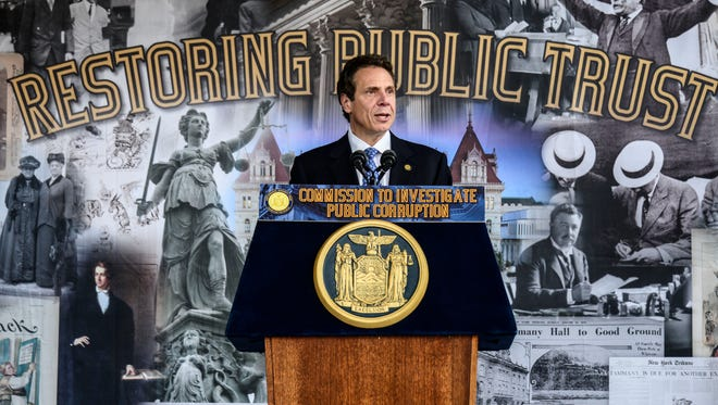 Gov. Andrew Cuomo talks in 2013 about the Moreland Act Commission at Binghamton University in Vestal.