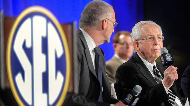 SEC commissioner Mike Slive, right, at last year's SEC Network announcement.