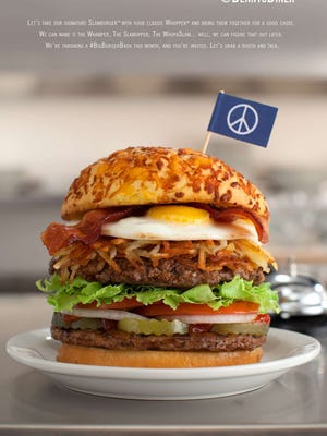"Photographer is a mockup for a 'peace burger' proposed by restaurant chain Denny's. McDonald's on Sunday said they would launch an advertising to campaign to encourage people to donate to the World Food Programme. The announcement comes weeks after McDonald's decline a proposal by Burger King to make a ""McWhopper"" to promote the United Nation's recognized Peace Day."