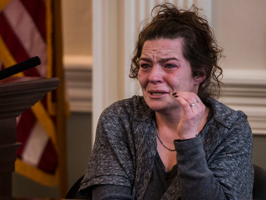 Jessica Goulet recounts the day that she says Robert Rosario confronted her in the women's bathroom and raped her in a stall at the Edward J. Costello Courthouse in Burlington during the first day of his trial on Tuesday, Dec. 12, 2017, being held at Vermont Superior Court in Hyde Park. Goulet has given the Free Press permission to identify her as as show photos and video of her during the trial.