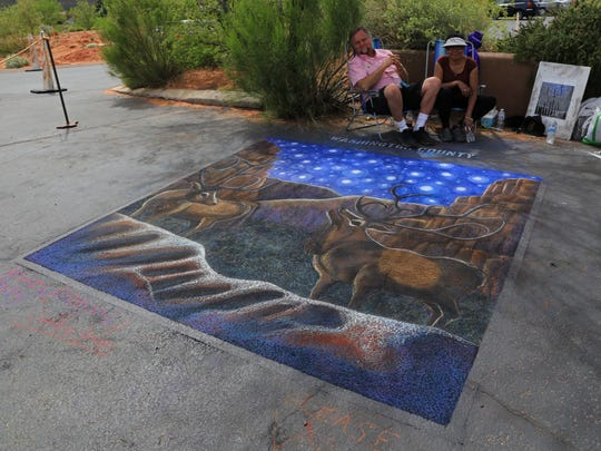 This image at the Kayenta Street Painting Festival in Ivins City hit on all elements of the 2016 theme: rock, stars and wildlife.