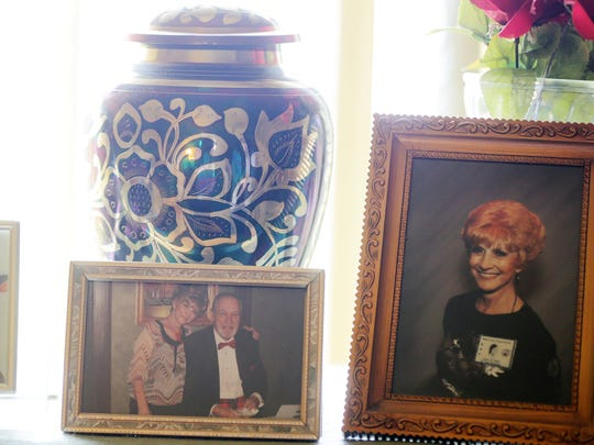 Potter is pictured at right in a frame on top of Mason's piano and is in the other two photographs with him. In addition, her remains are in the urn among the photos.