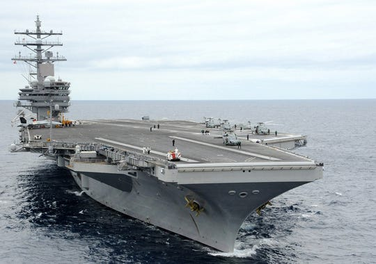 The carrier Ronald Reagan will become the Navy's forward-based