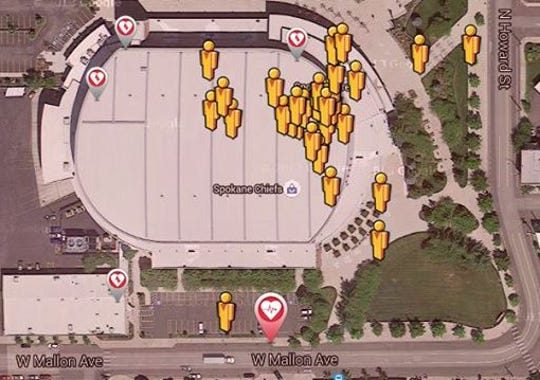 Snapshot of the PulsePoint app at the concert. The
