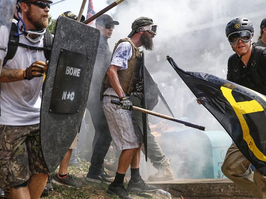 White nationalist groups and counterprotesters feud