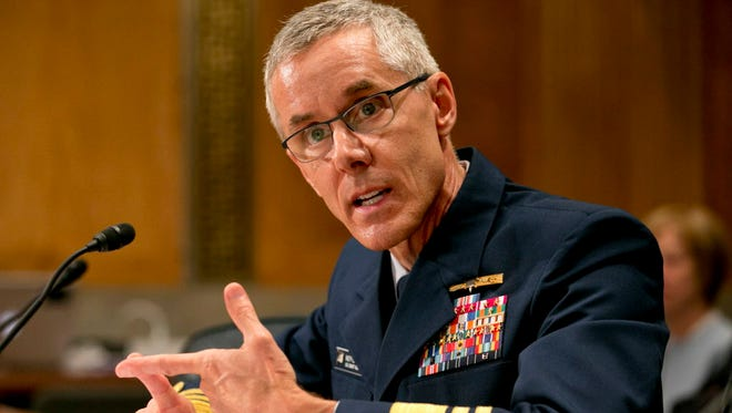 Coast Guard Vice Commandant Peter Neffenger testifies June 10, 2015, at a Senate confirmation for his nomination to head the Transportation Security Administration.