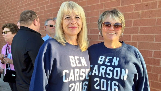 Donna Brooks, of Hanover Township, and Cathy Harris, of Morgan Township, said Ben Carson's comments about not supporting a Muslim president didn't bother them.