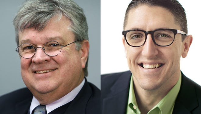 Tim Hanna (left) and Josh Dukelow will face off April 5 for the next four-year term as Appleton's mayor.