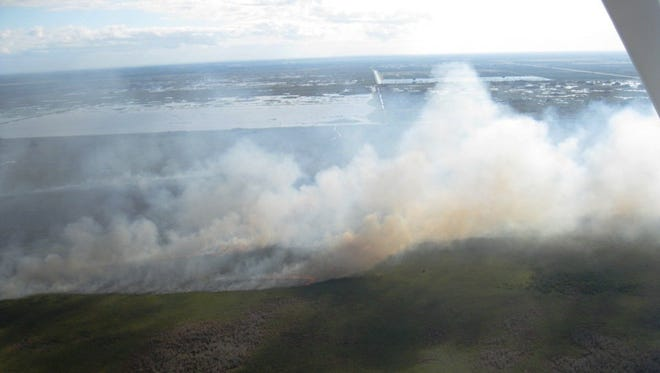 Wildfire at Blue Cypress Conservation Area.