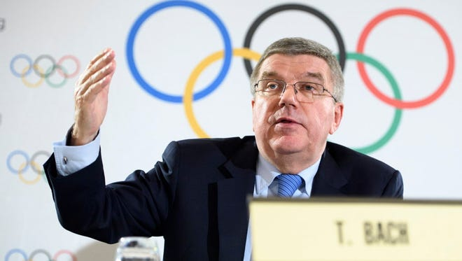 International Olympic Committee (IOC) president Thomas Bach speaks on Dec. 8.