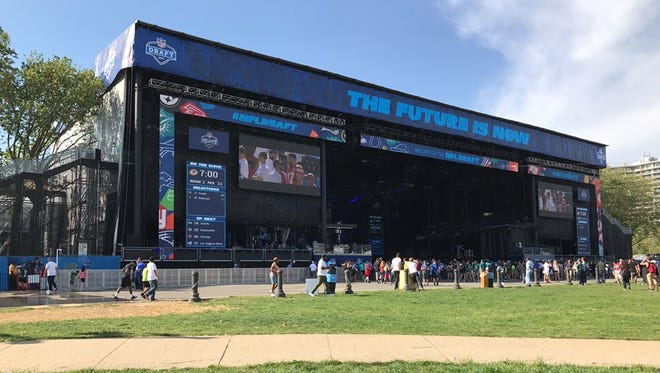 The NFL draft stage at the Philadelphia Museum of Arts on April 28, 2017.