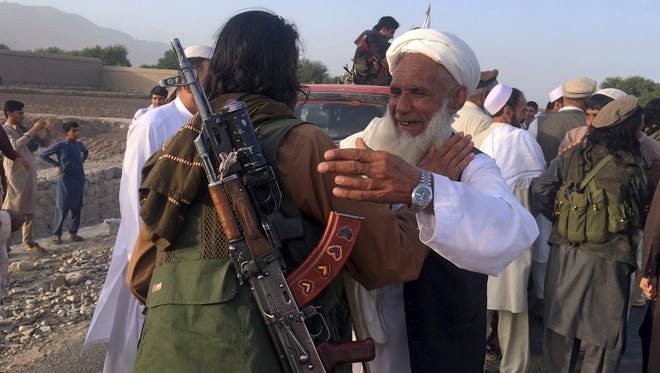 Taliban fighters outside Kabul, Afghanistan, on June 16, 2018.