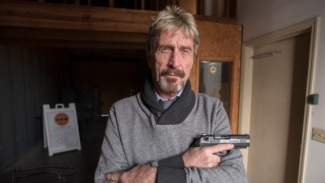 John McAfee, founder of McAfee Anti-Virus,  keeps a hand gun to protect himself.