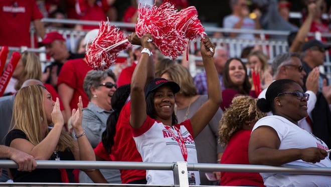 Fans cheer after Austin Peay scores its first touchdown against Southeast Missouri on Saturday.