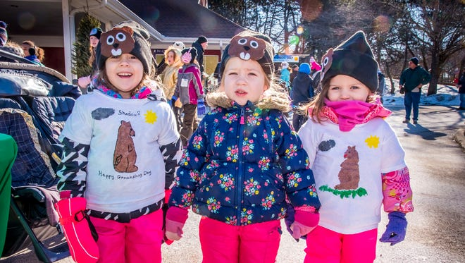 Children at the Milwaukee County Zoo celebrate Groundhog Day.