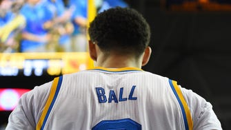 Feb 12, 2017: UCLA Bruins guard Lonzo Ball (2) looks on during a time out in the second half of the game against the Oregon State Beavers at Pauley Pavilion. UCLA won 78-60.