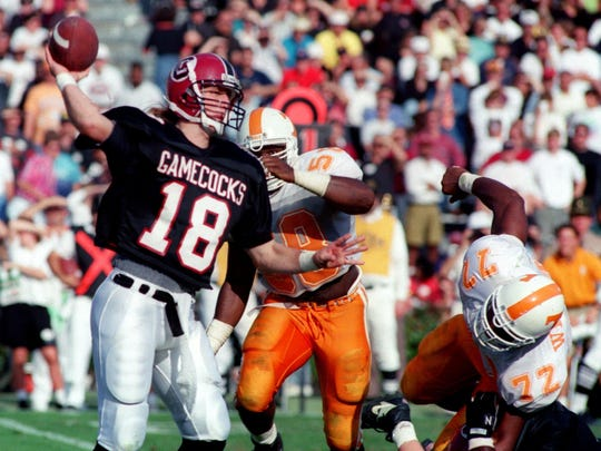 South Carolina quarterback Steve Tanneyhill (18) pulled off a stunning win over Tennessee in 1992. New SEC members Arkansas and South Carolina both upset the Vols that season.