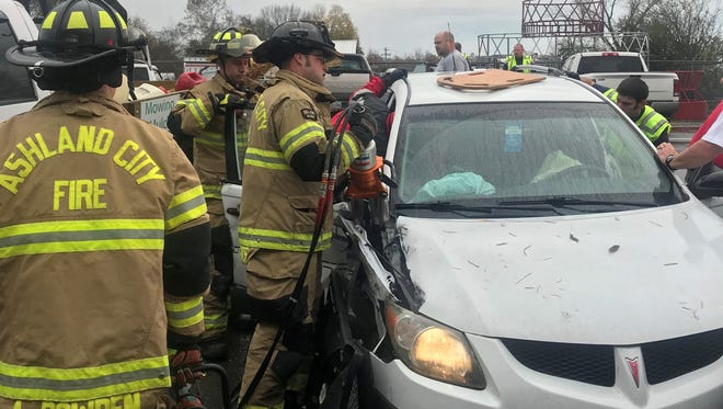 Ashland City Fire Department Chief Chuck Walker said responders had to use hydraulic tools to open the passenger door to get a patient out of the vehicle after a two-vehicle collision on Cumberland Street.