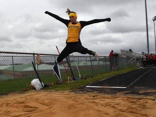 Watkins Memorial junior Karissa Hyme competes in the
