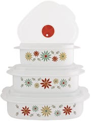 Corelle Storage Set comes with floral, leaf and geometric patterns, and are freezer, microwave and dishwasher safe.