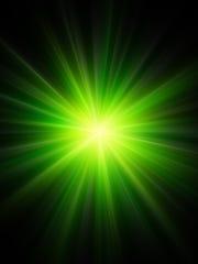 Green light from laser.