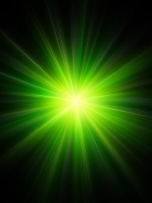 Green light from laser.