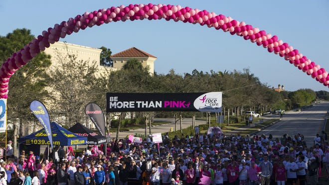 People wait at the starting line for the 1 mile walk during the 11th annual Susan G. Komen Race for the Cure at Coconut Point Mall in Estero, Florida on Saturday, March 4, 2017. The event raises significant funds and awareness for the breast cancer movement, celebrates breast cancer survivorship and honors those who have lost their battle with the disease.