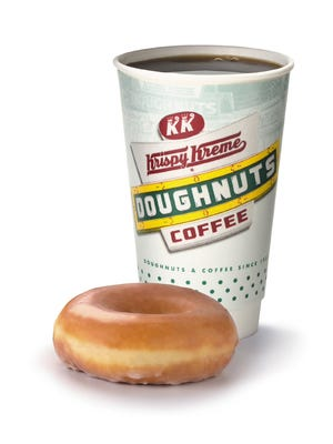 Krispy Kreme is giving away a doughnut and cup of coffee to anyone who comes in on National Coffee Day