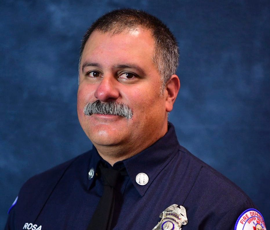 This photo provided by the Long Beach Fire Department shows Captain David Rosa who was fatally shot while responding to  an emergency at a senior home on June 25 in Long Beach, Calif.