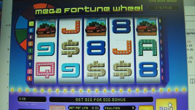 A computer screen in Atlantic City an Internet gambling site.