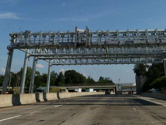 The new all-electronic toll gantry on the New York