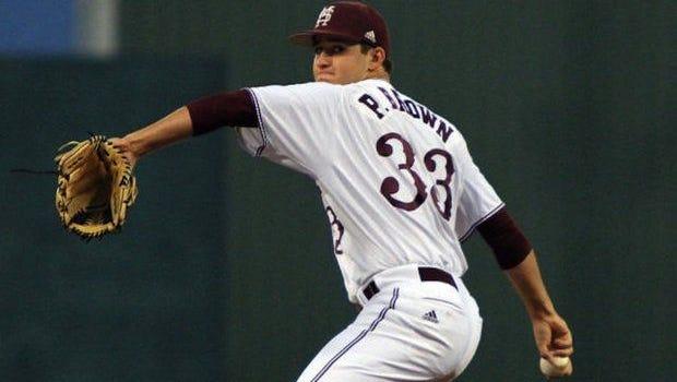 Mississippi State pitcher Preston Brown