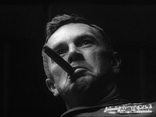 "Sterling Hayden as Gen. Jack E. Ripper in ""Dr. Strangelove."""