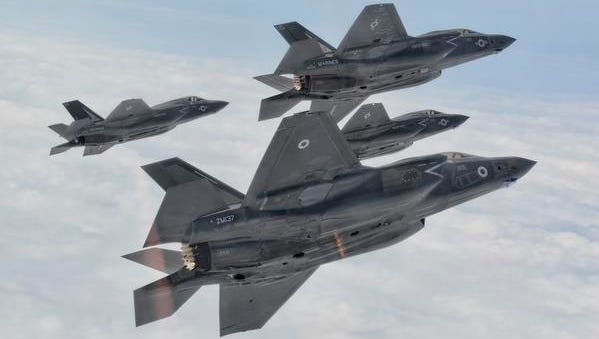 Four F-35B joint strike fighter jets from Marine Fighter Attack Training Squadron 501 fly near Marine Corps Air Station Beaufort, S.C.