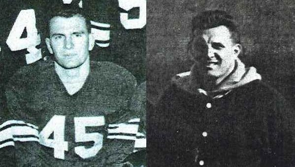 Steve Drazich of Cocoa Beach, left, seen in this early 1950s photo as a Case University JV football player, was coached by Lou Saban, right, seen in an early 1950s photo taken with the Case University varsity team.