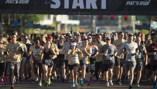 Runners start the 4.2-mile race during the 13th annual Pat's Run in Tempe on April 22, 2017.