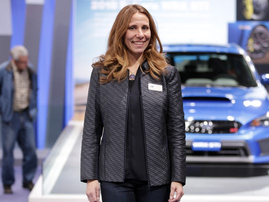 Subaru exhibit manager Angie Ransdell is dressed in high-end and very functional mom clothes.