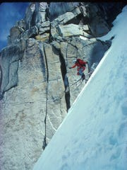 Bela Vadasz skiing Chute Out off the Dana Plateau in the Sierra Nevada in 1987.