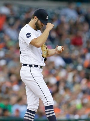 Tigers pitcher Daniel Norris kicks at the mound after giving up a two-run home run to Salvador Perez of the Royals in the fourth inning at Comerica Park on June 28, 2017.