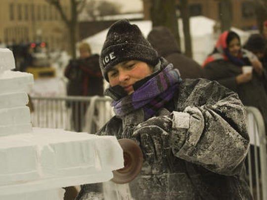 Carver Tajana Raukar, of Ice Dreams in Plymouth, is