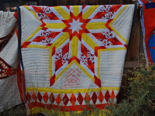This state quilt, displayed at White Oaks, created