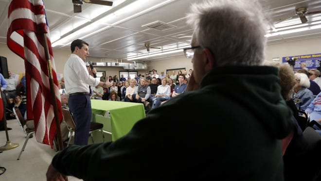 2020 Democratic presidential candidate South Bend Mayor Pete Buttigieg speaks during a town hall meeting, Tuesday, April 16, 2019, in Fort Dodge, Iowa.