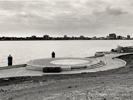Chene Park under construction on the riverfront. It opened and hosted concerts in 1984, although a full music series didn't begin until 1985.