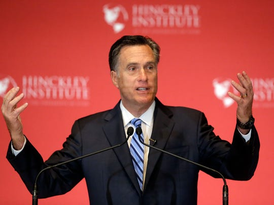 Mitt Romney weighs in on the Republican presidential race during a speech at the University of Utah in Salt Lake City on March 3, 2016.