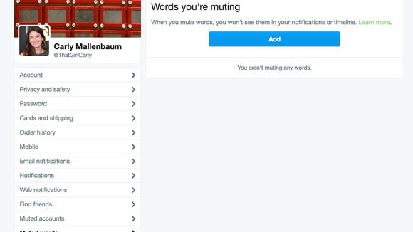 """Here's what the """"Muted words"""" tab looks like."""