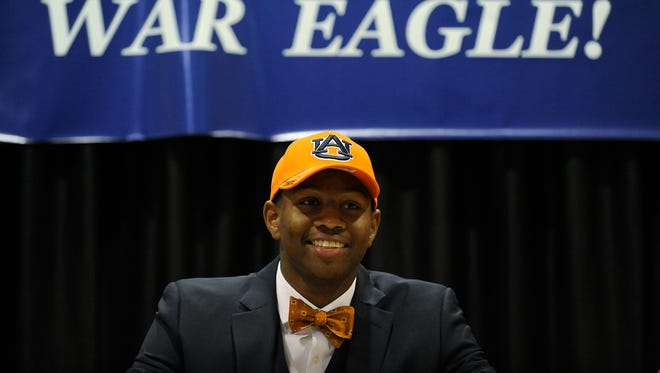 St. James High School's Jalen Harris announces that he is signing to play college football at Auburn on Wednesday February 4, 2015 at St. James in Montgomery, Ala.