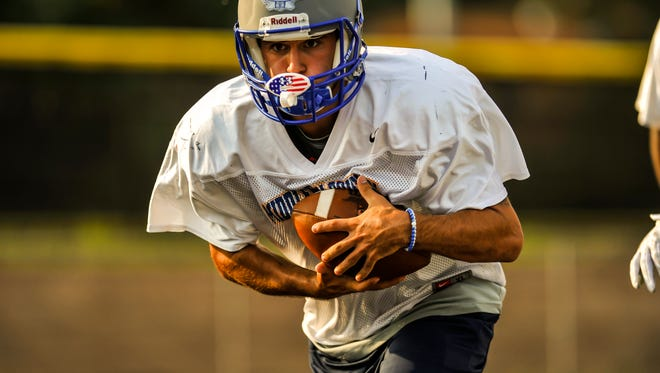 Sayreville running back Michael Liberti during the Middlesex County All-Star team's first practice for Snapple Bowl XXIV in Colonia on July 10, 2017.