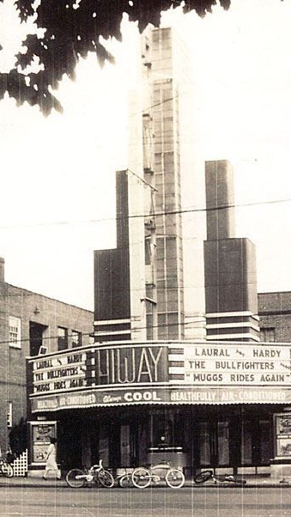 """Reader Allida Carroll shared this photo of the former Hiway Theatre. Noe the neat misspelling of """"Laural"""" and Hardy!"""