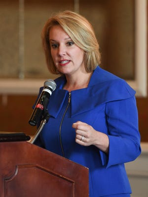 South Carolina gubernatorial candidate Catherine Templeton speaks at the First Monday forum at the Poinsett Club in downtown Greenville on Monday, March 5, 2018.
